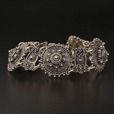 Vintage Middle Eastern 950 Silver Cannetille Link Bracelet