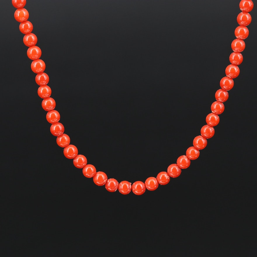 Lisa Shtromberg Sterling Coral Beaded Necklace