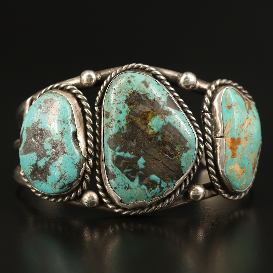 Southwestern Sterling Turquoise Cuff with Braided Accents