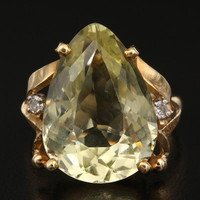 18K 10.70 CT Heliodor and Diamond Ring
