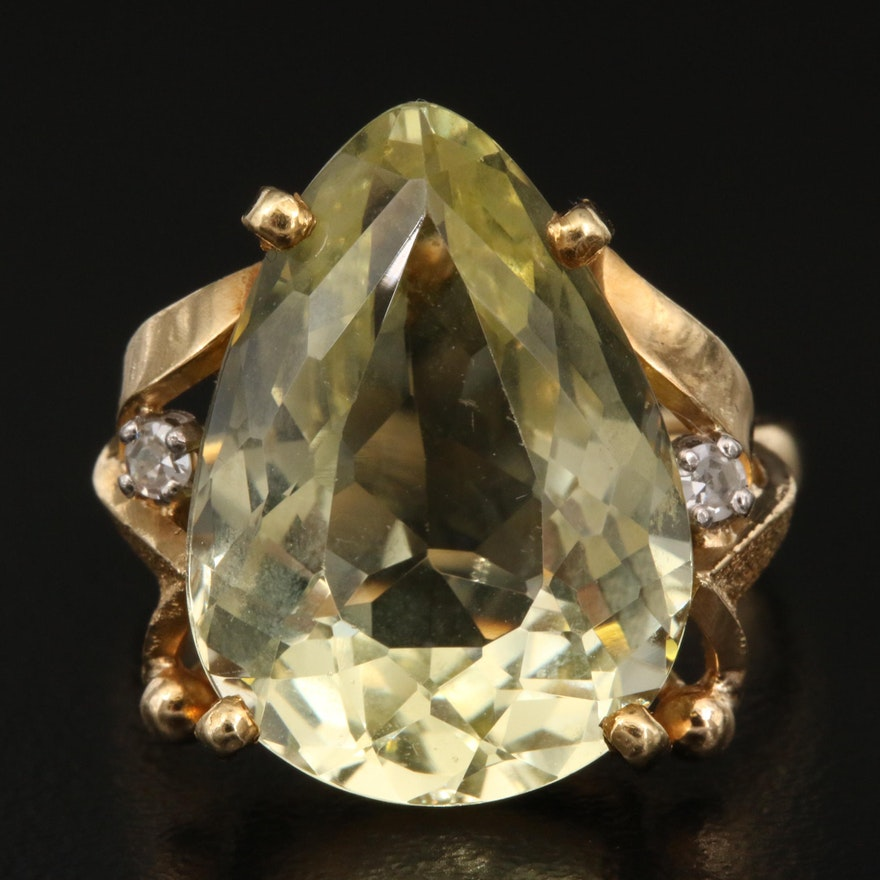 18K 10.70 CT Heliodor and Diamond Ring