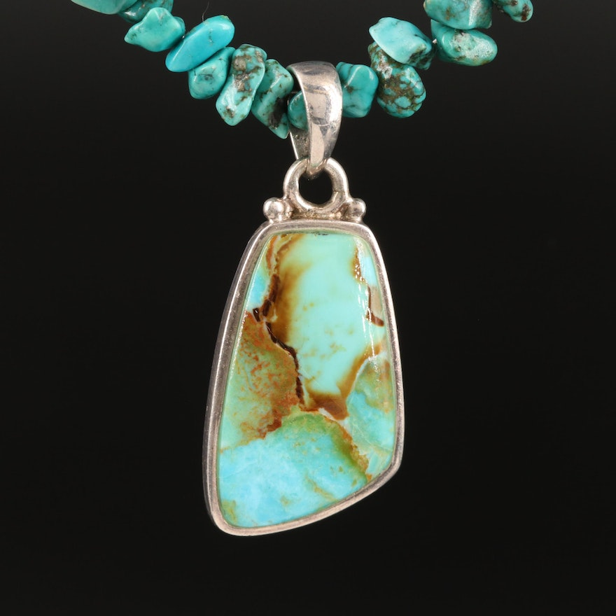 Barse Sterling Turquoise Pendant Necklace