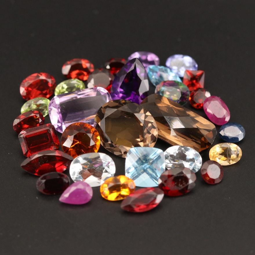 Loose 32.33 CTW Amethyst, Garnet, Smoky Quartz and Additional Gemstones