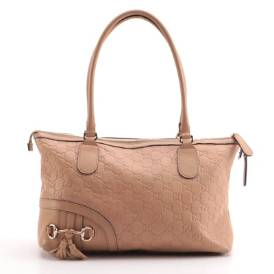 Gucci Horsebit Tassel Mini Tote in Beige Guccissima Embossed Leather