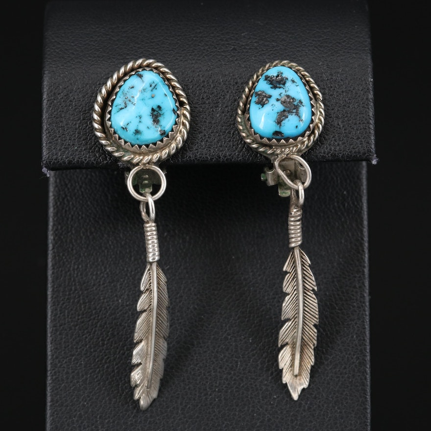 Signed Southwestern Sterling Turquoise Clip Earrings with Feather Drops