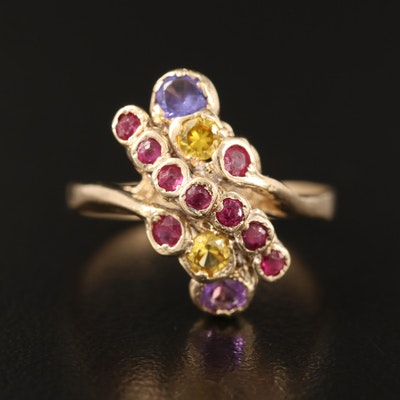 10K Ruby and Gemstone Cluster Ring