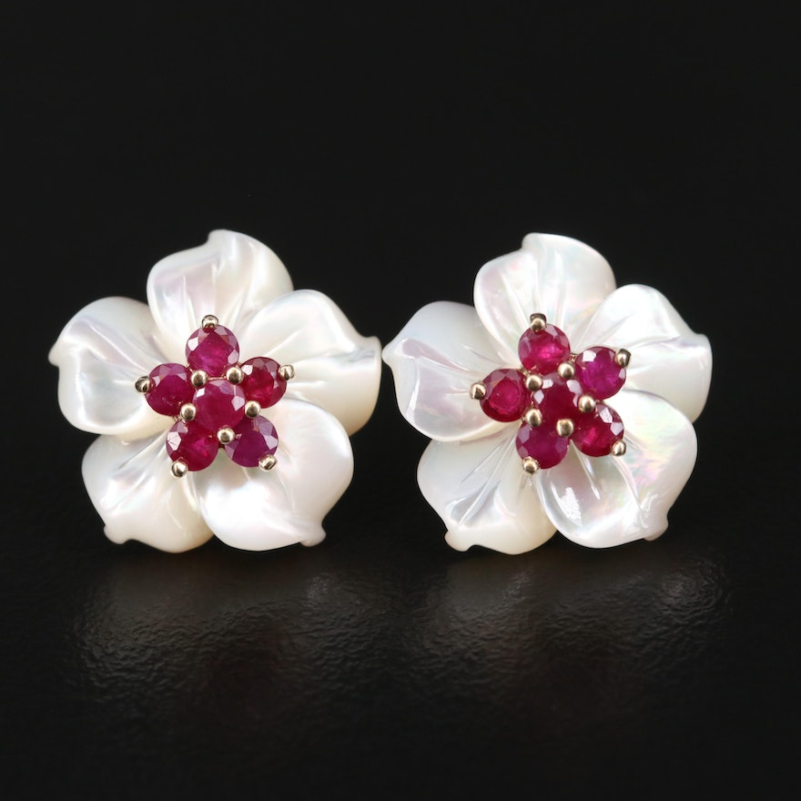 10K Ruby Stud Earrings with Carved Mother of Pearl Floral Enhancers
