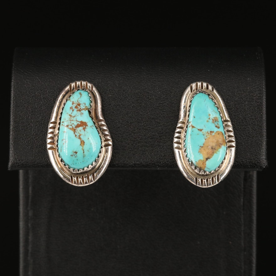 Southwestern Signed Sterling Turquoise Clip Earrings
