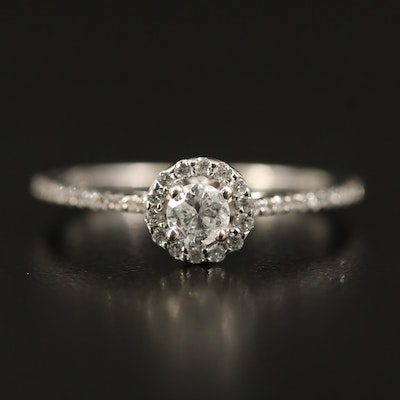14K Diamond Cathedral Set Ring