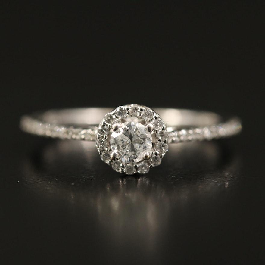 14K Diamond Cathedral Set Ring