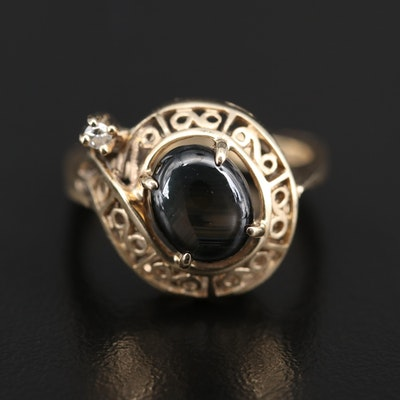 14K Star Sapphire and Diamond Scrollwork Ring with European Shank