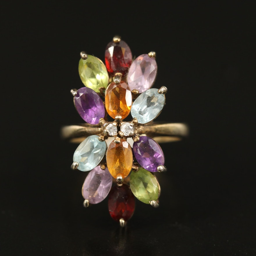 Sterling Citrine, Amethyst, Peridot and Gemstone Cluster Ring