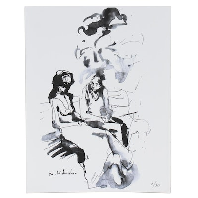 Murat Kaboulov Abstract Giclée of Couple on Park Bench, circa 2000
