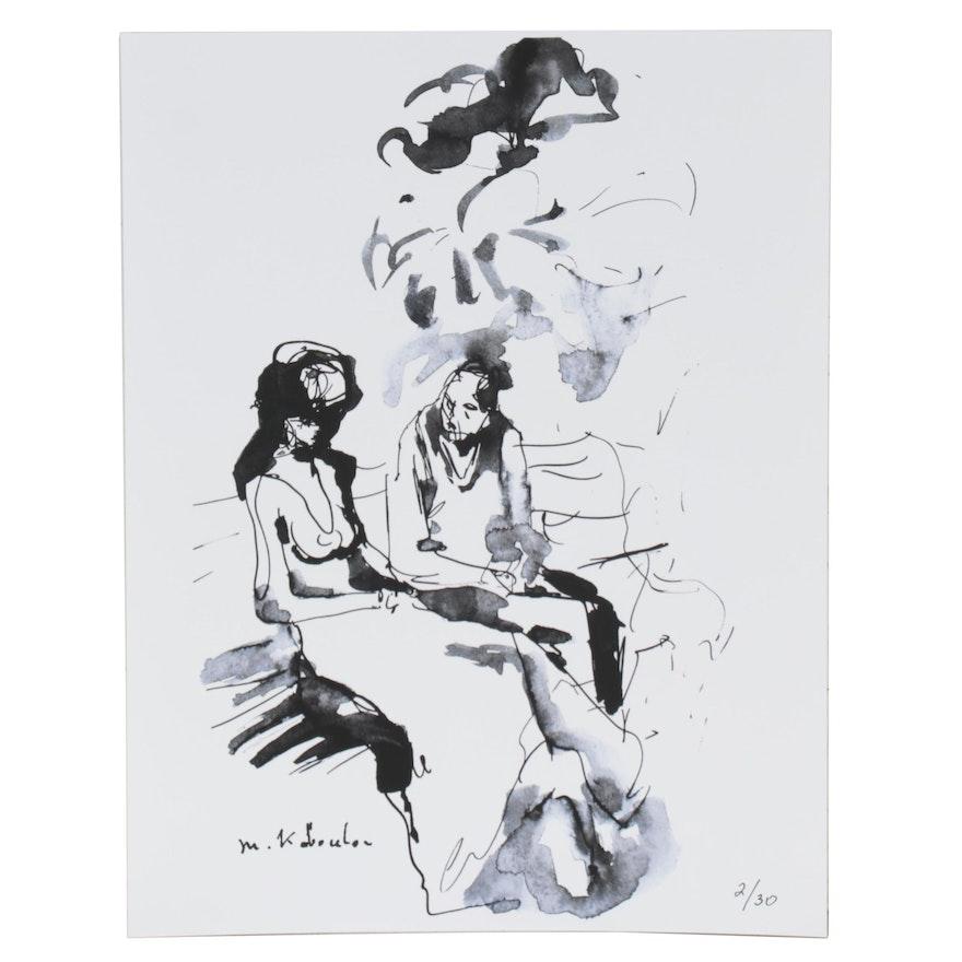 Murat Kaboulov Abstract Giclée of Couple on Park Bench, circa 2000