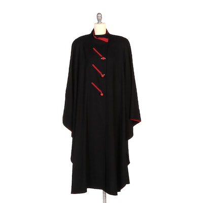 George Simonton Black Wool Cocoon Cape with Red Trim