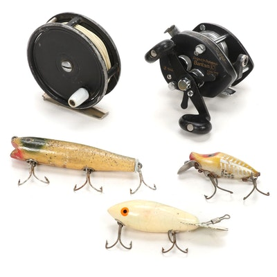 Shimano and Ocean City Reels with Heddon and Other Vintage Lures