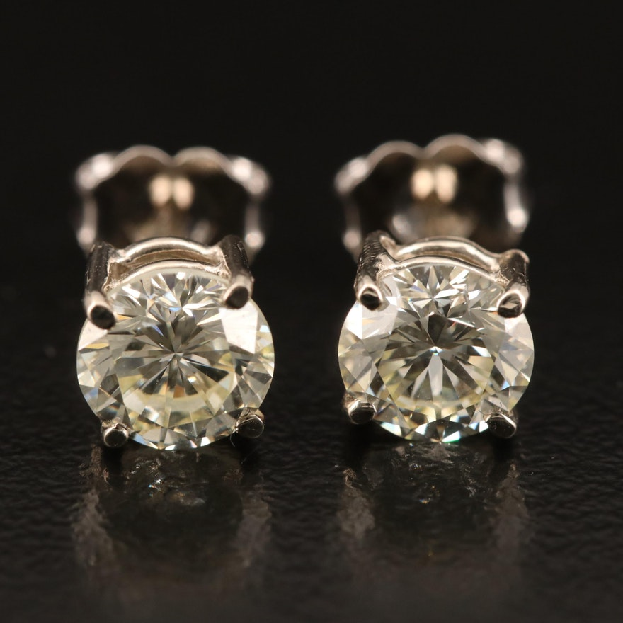 14K 1.83 CTW Round Brilliant Diamond Stud Earrings
