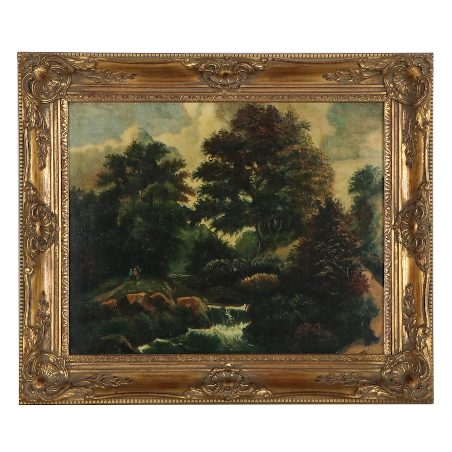 Forest Landscape Oil Painting, Mid-20th Century