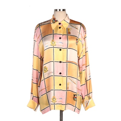 Escada Rowing Patterned Silk Blouse