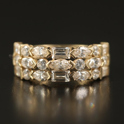 14K Cubic Zirconia Triple Row Band