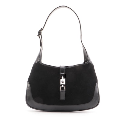 Gucci Jackie O Small Hobo Bag in Black Suede with Leather Trim
