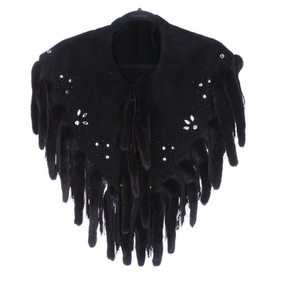Mink Fur Fringed Black Suede Shawl with Rhinestone and Bead Embellishment