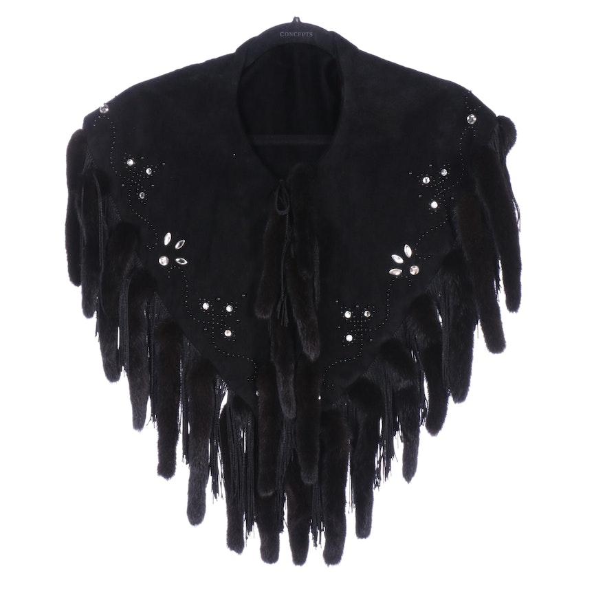 Mink Fur Fringed Black Suede Shawl with Rhinestone and Bead Embellishment