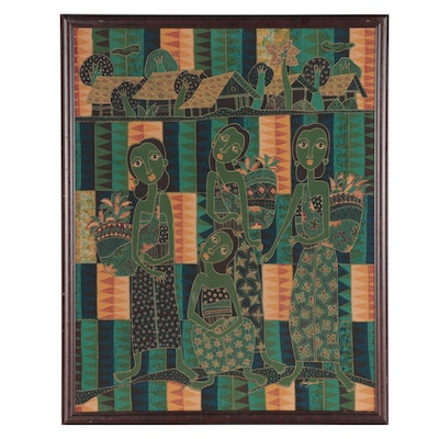 Indonesian Batik Textile Panel of Women with Baskets
