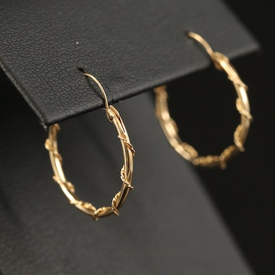 14K Wire Wrapped Hoop Earrings