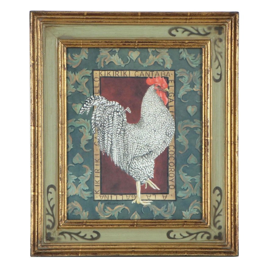 Offset Lithograph of a Barred Plymouth Rock Chicken