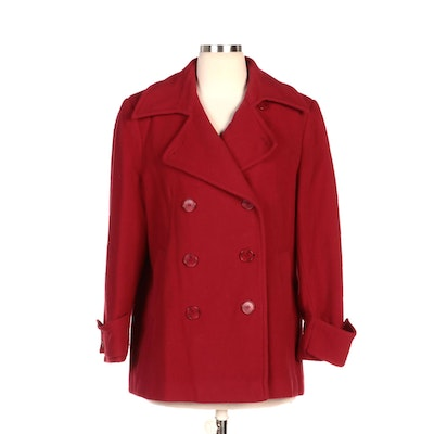 Larry Levine Red Woolen Double-Breasted Peacoat