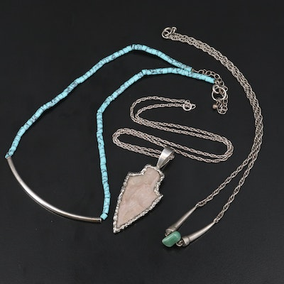 Southwestern Necklaces with Sterling, Chert Arrowhead and Aventurine