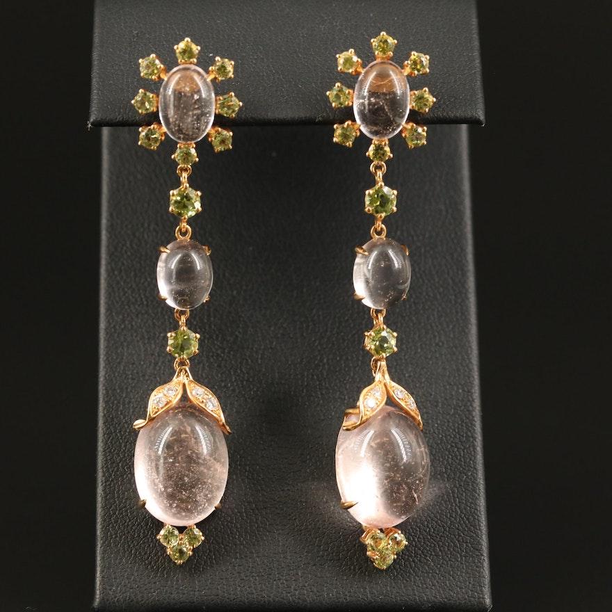 18K Morganite, Peridot and Diamond Drop Earrings