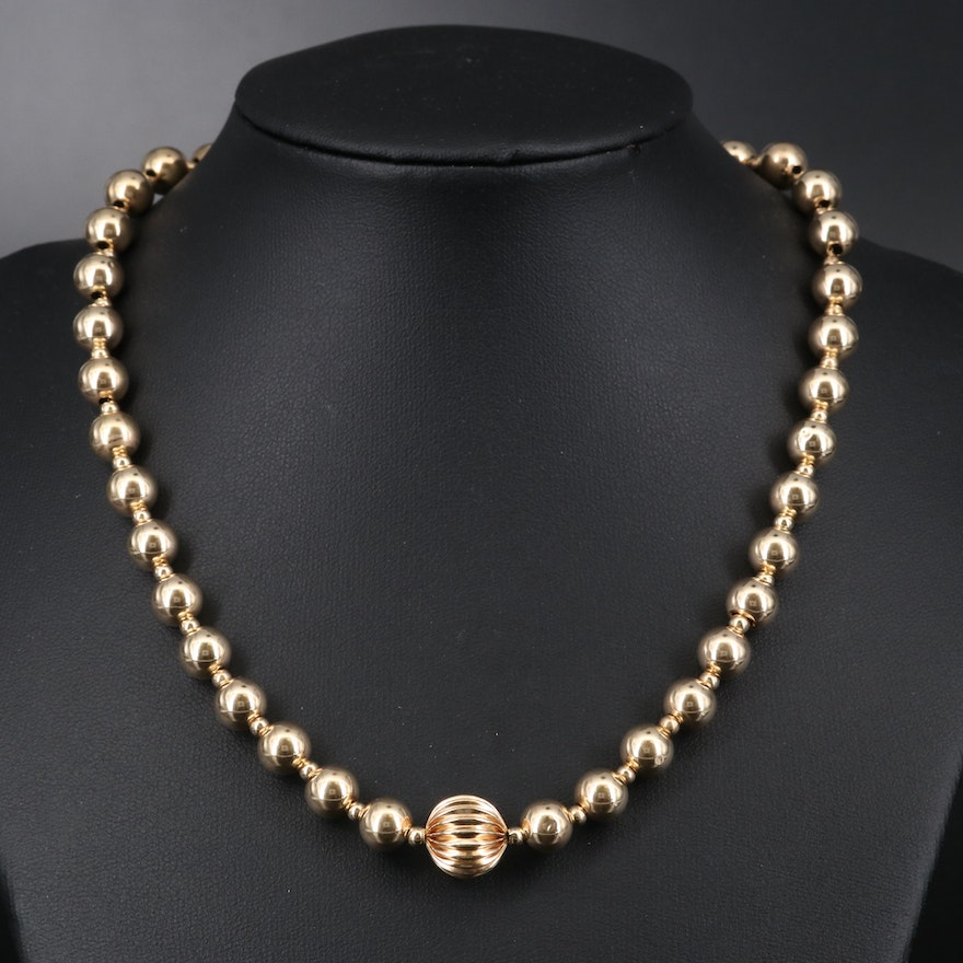 14K Beaded Necklace with Fluted Center