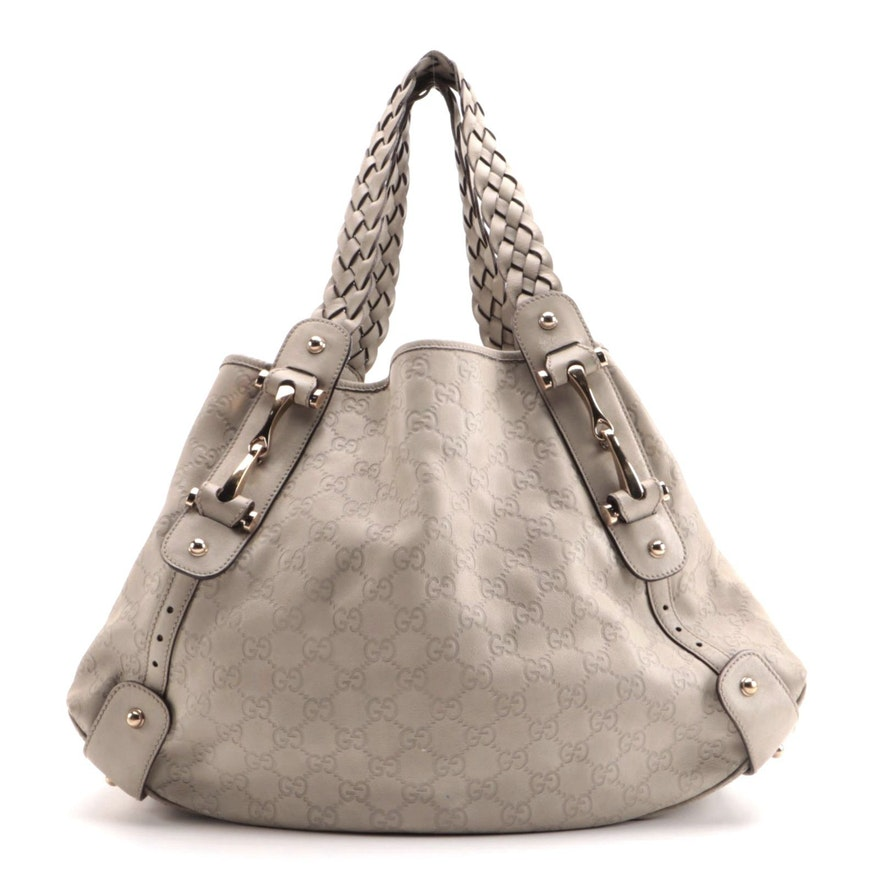 Gucci Pelham Medium Shoulder Bag in Beige Guccissima Leather