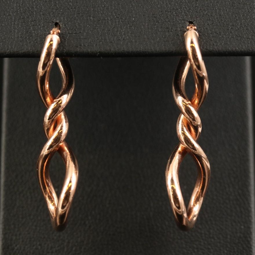 Italian Milor 14K Rose Gold Twisted Dangle Earrings