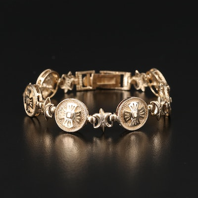 10K Fleur-de-Lis and Cross Link Bracelet