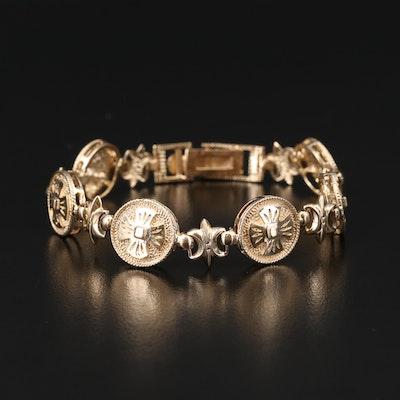 10K Fleur-de-Lis and Cross Link Bracelet