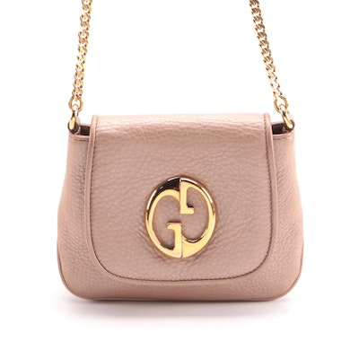 Gucci 1973 Crossbody Bag in Rose Gold Pebbled Leather