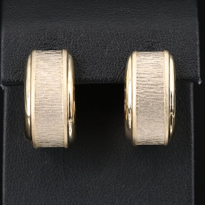 Italian 14K Textured J-Hoop Earrings
