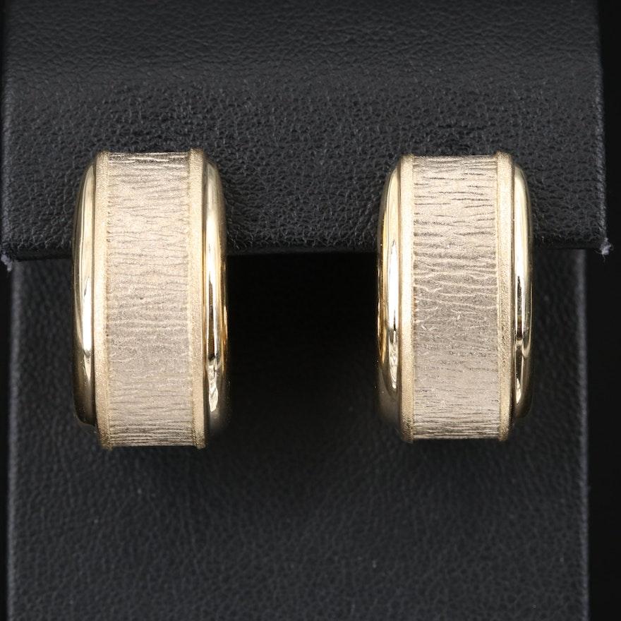Italian 14K Textured J-Hoop Earrings