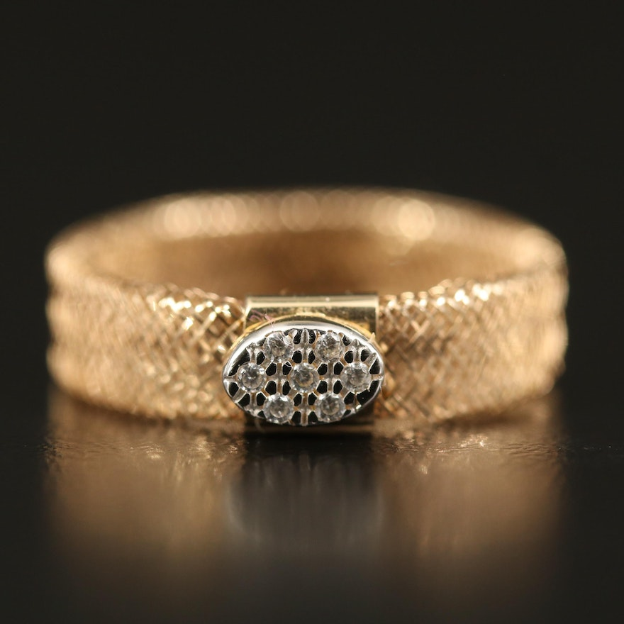 14K Mesh Ring with Cubic Zirconia