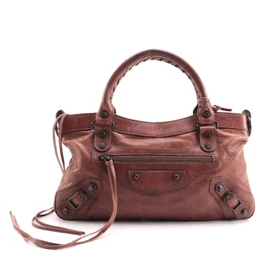 Balenciaga First Arena Classic Moto Bag in Brown Agneau Leather