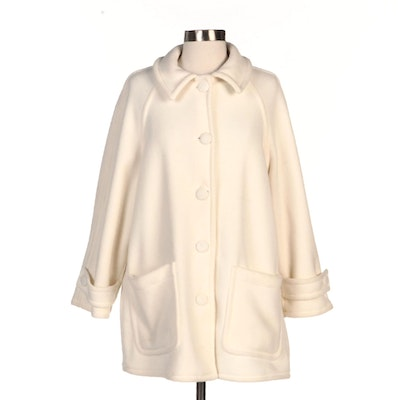Aqua Sheen Off-White Poly Fleece Coat