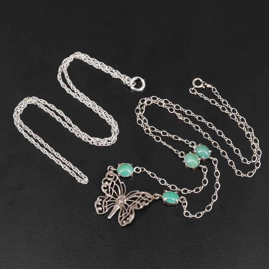 Sterling Butterfly Necklace with Chrysoprase Stations and Singapore Chain