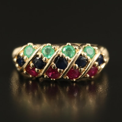 14K Emerald, Sapphire and Ruby Ring