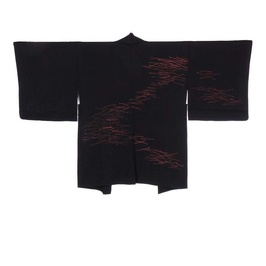 Japanese Matsuba Chirashi Patterned Black Haori with Himo, Shōwa Period
