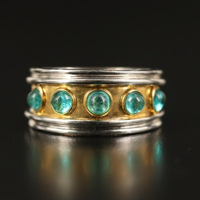 18K Two-Tone Emerald Band
