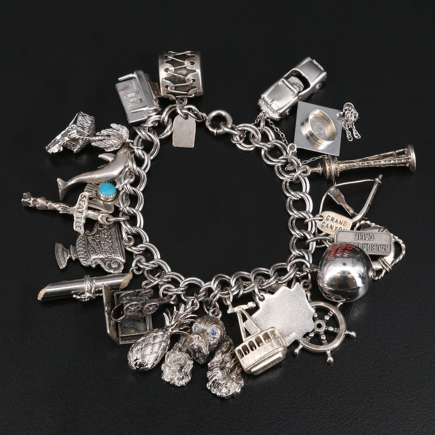 Vintage Sterling Charm Bracelet with Graduation Cap and Seattle Space Needle