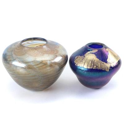 Robert Eickholt Iridescent Gold Foil Glass Vase with Other Studio Art Glass Vase